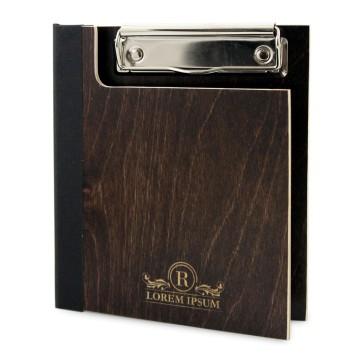 Drewniany clipboard A6 z okładką i grawerem (brąz)