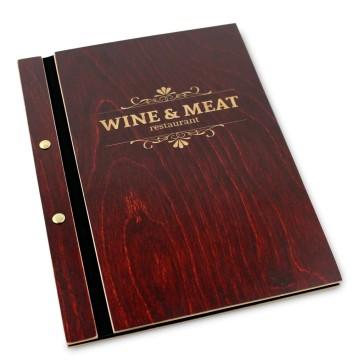 Drewniana okładka na menu (mahoń)