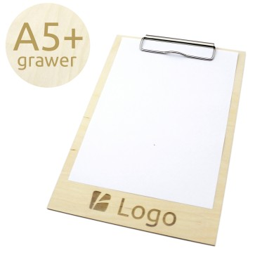 Drewniany clipboard A5+ z grawerem (surowy)