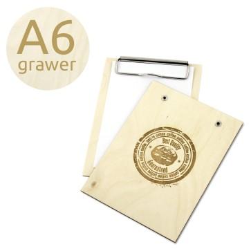 Drewniany clipboard A6 z grawerem (surowy)