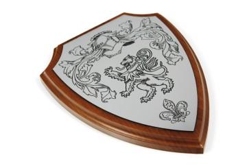 Dyplom na drewnianym podkładzie – tarcza