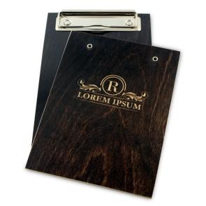 Drewniany clipboard A6 z grawerem (brąz)