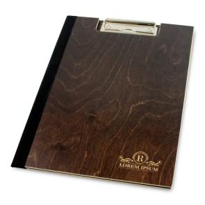 Drewniany clipboard A4 z okładką i grawerem (brąz)