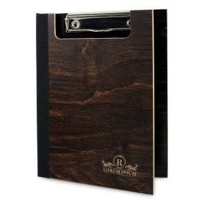 Drewniany clipboard A5 z okładką i grawerem (brąz)