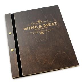 Drewniana okładka na menu (brąz)