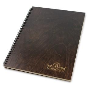 Drewniany notatnik A4 – 100 kartek (brąz)